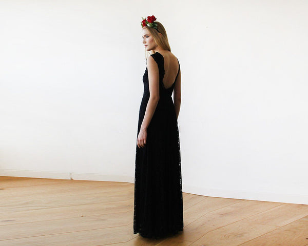 Black Lace Sleeveless Open Back Maxi Dress SALE 1141