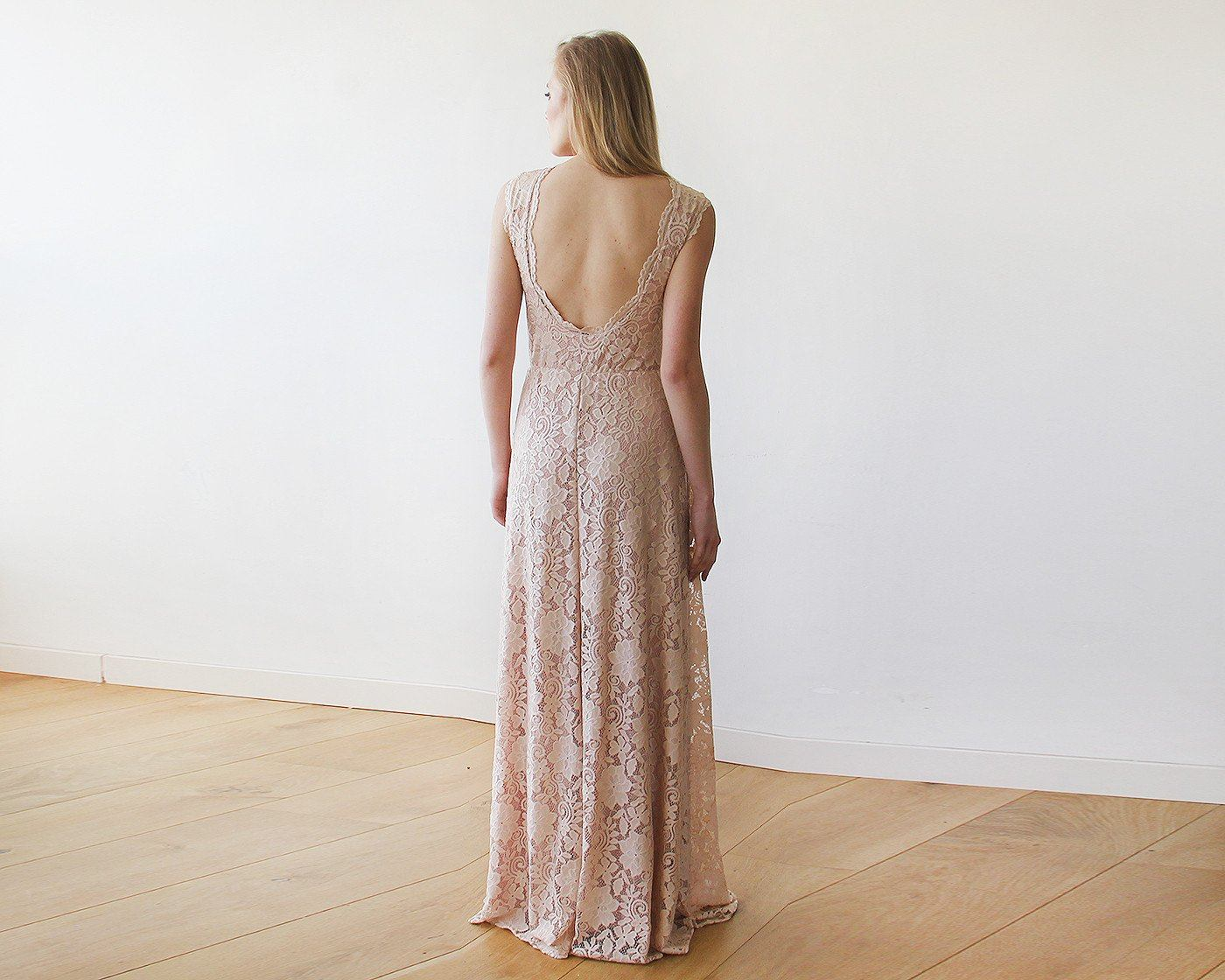 Open back lace maxi dress sleeveless pink blush 1141 - Blushfashion
