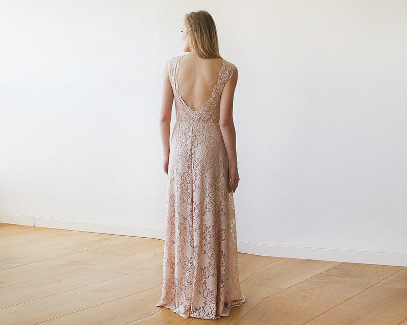 Open back lace maxi dress sleeveless pink blush  #1141