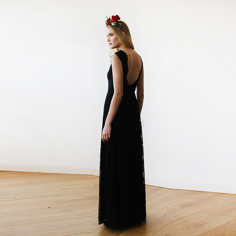 Black Lace Sleeveless Open Back Maxi Dress  #1141