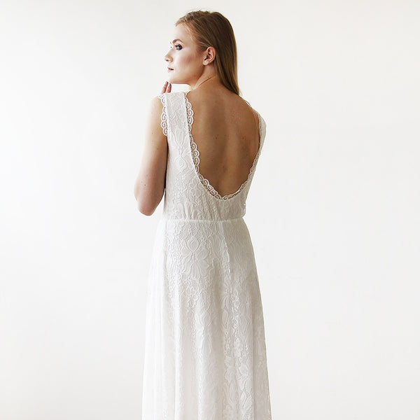 Sleeveless Ivory  Bridal Dress With Open Back #1141