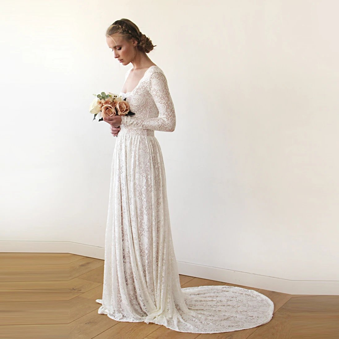 Square Neckline Vintage inspired Pearl Wedding Dress 1207