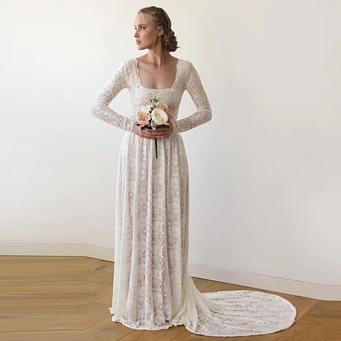 Square Neckline Vintage inspired Pearl Wedding Dress 1207 - Blushfashion