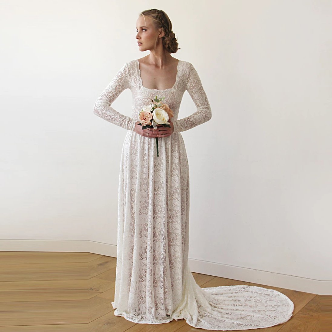 Square Neckline Vintage Inspired Wedding Dress Pearl Color Lace Of Roses Long Sleeves Dress Rustic Wedding Dress 1207