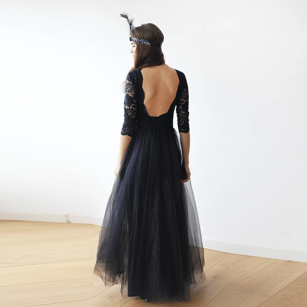 Black Tulle and Lace Maxi Gown 1122