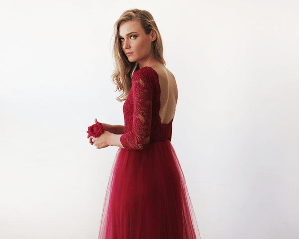Bordeaux Tulle and Lace Maxi Gown 1122