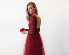 Bordeaux Tulle and Lace Maxi Gown 1122 - Blushfashion