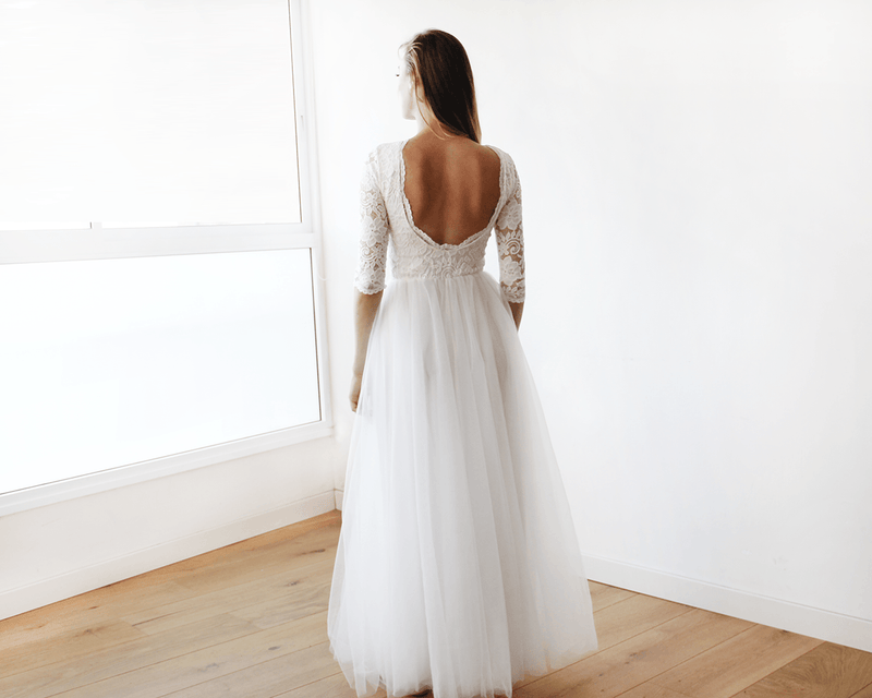 Ivory Tulle and Lace Open Back Gown 1122 - Blushfashion