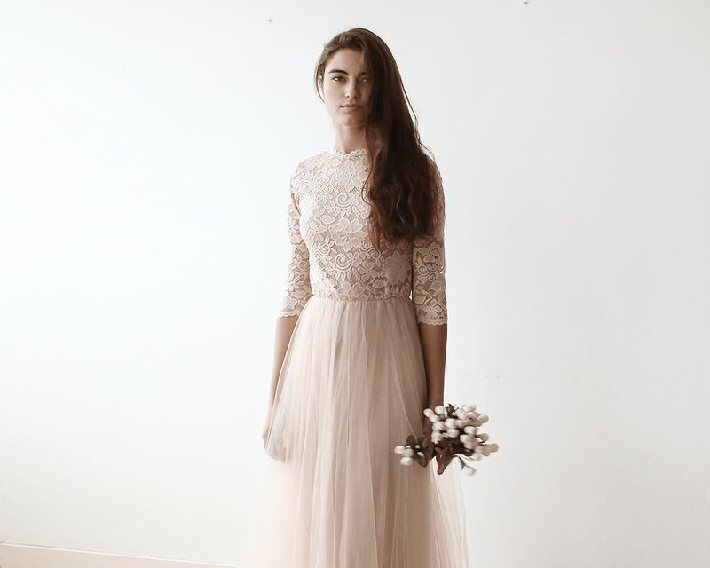 Pink Tulle and Lace Maxi Gown #1122