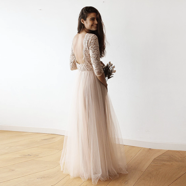 Pink Tulle and Lace Maxi Gown