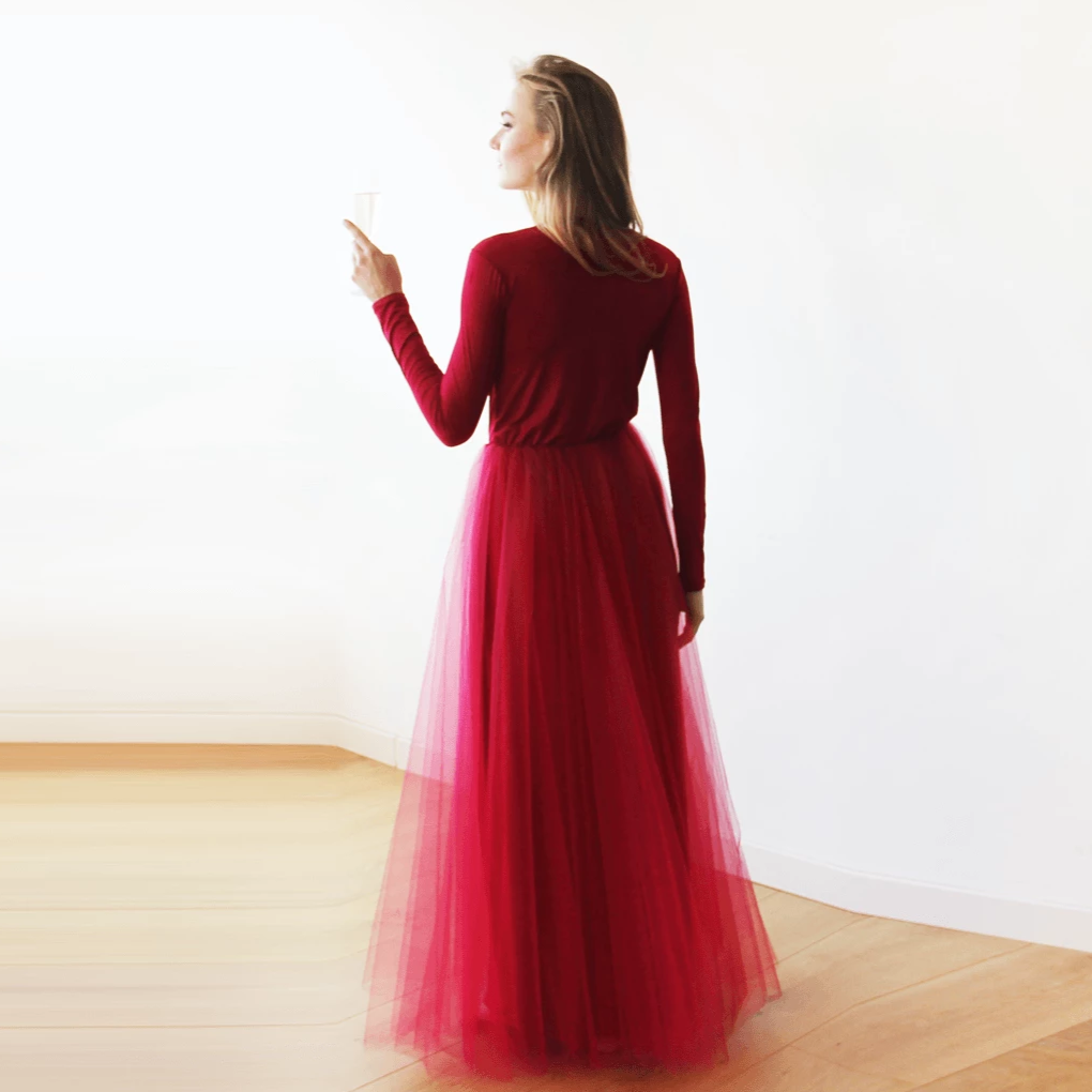 Bordeaux maxi tulle dress with long sleeves SALE 1066