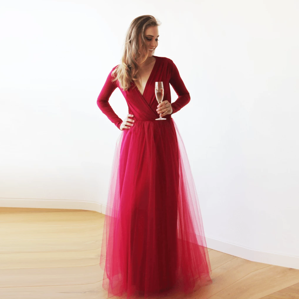 Bordeaux maxi tulle dress with long sleeves 1066 - Blushfashion