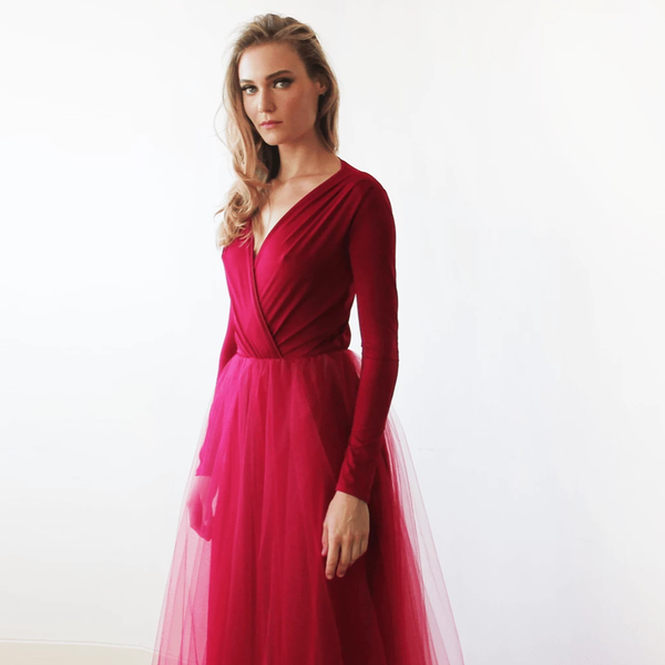 Bordeaux maxi tulle dress with long sleeves 1066