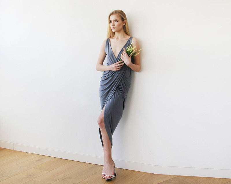 Dark Grey Wrap Tulip Dress with V Neckline  #1154