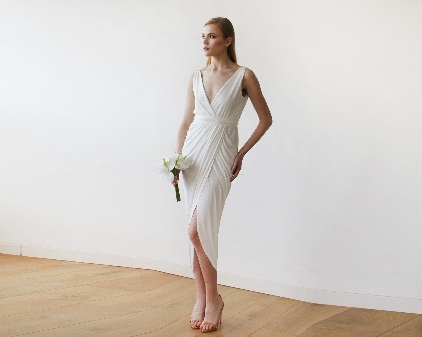 Ivory Wrap Tulip Dress with V Neckline 1154