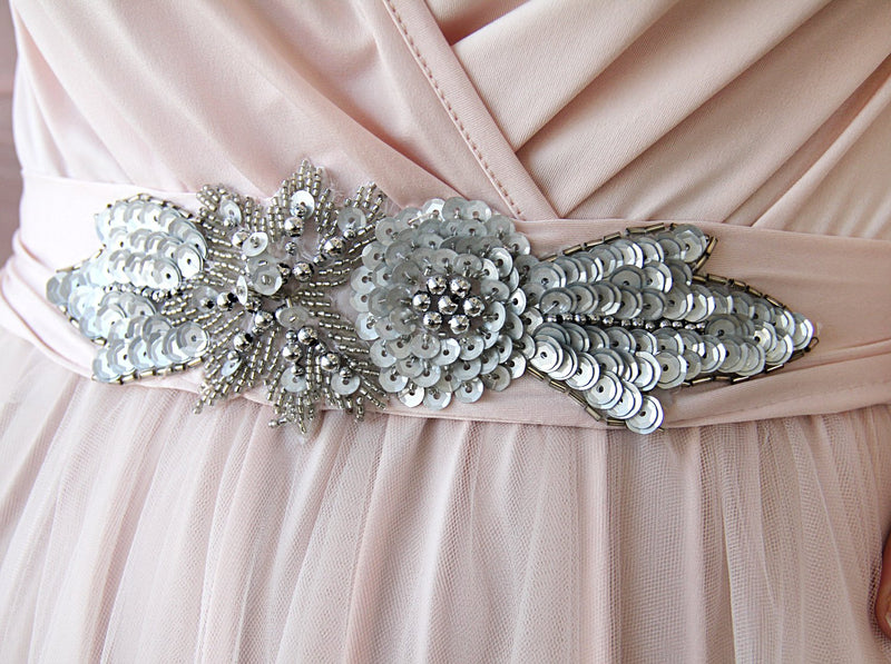 Pearl beaded Fabric Sash #4003
