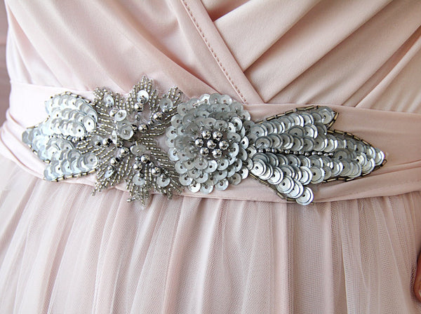 Pearl beaded Fabric Sash