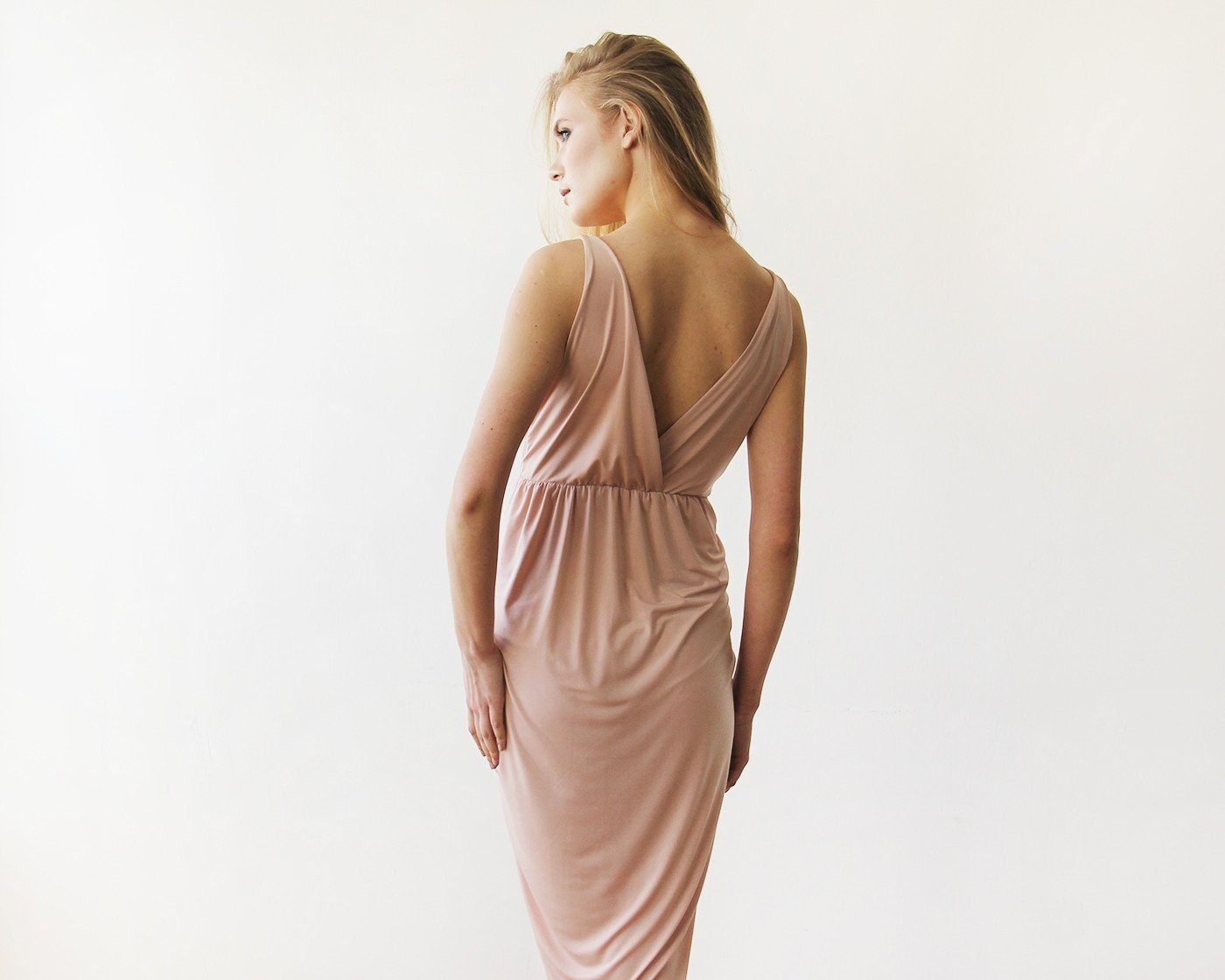 Pink Blush Wrap Tulip Dress with V Neckline SALE 1154