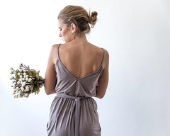 Taupe Mini Wrap Bridesmaids Dress 1108