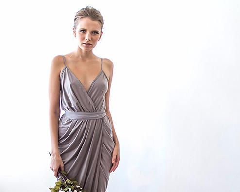 Taupe Mini Wrap Bridesmaids Dress