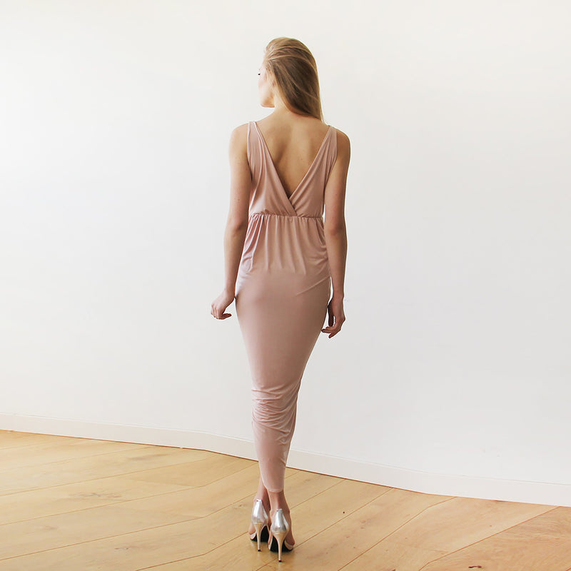 Pink Blush Wrap Tulip Dress with V Neckline #1154
