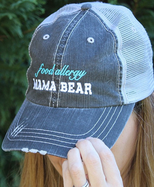 Food Allergy Mama Bear Distressed Trucker Hat
