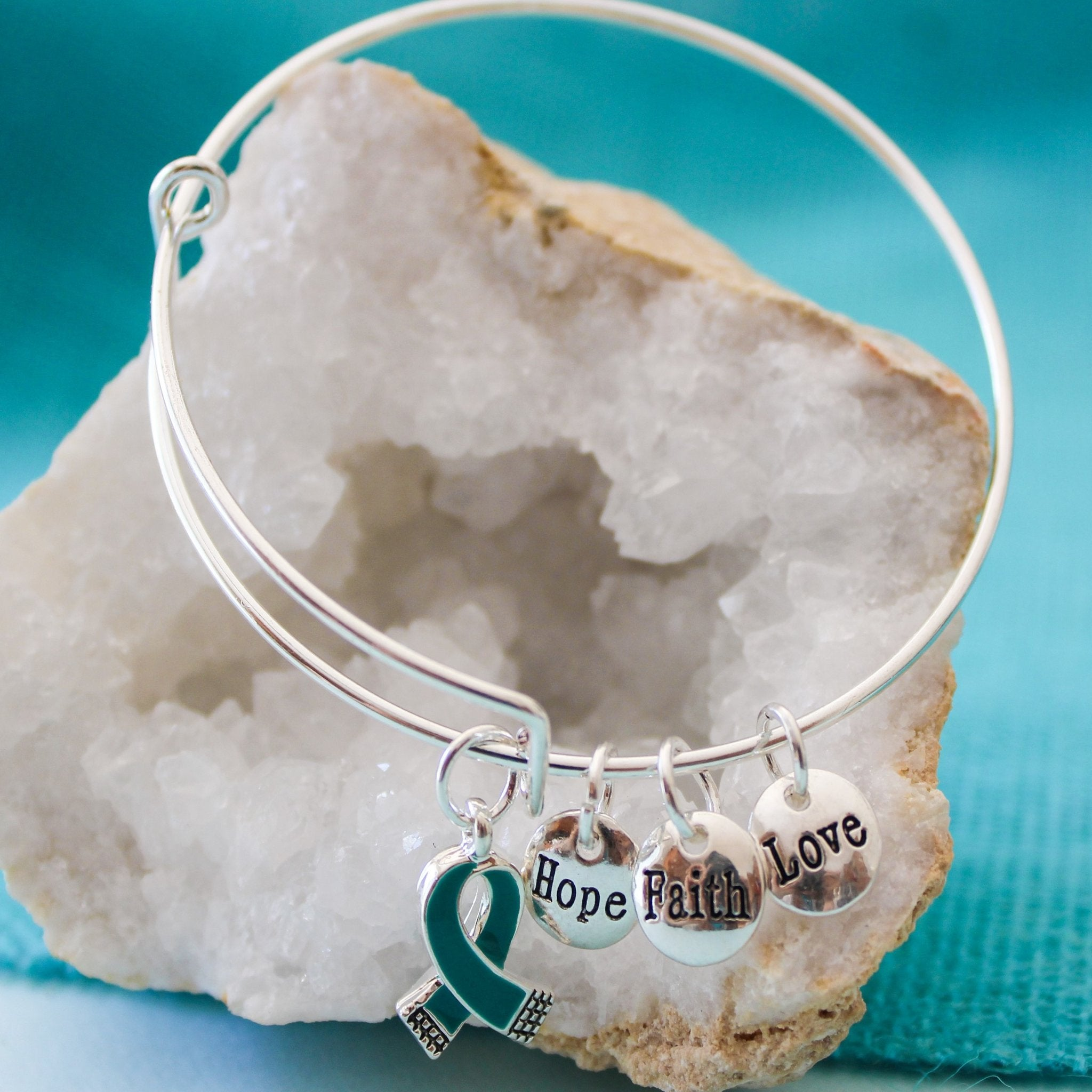 The Peyton Bangle - Hope, Faith, Love + Teal ribbon charms