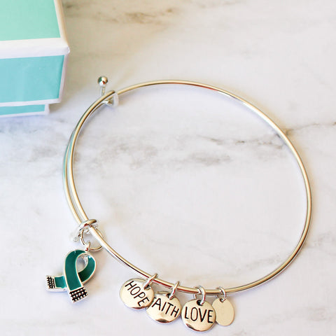 SOLD OUT - Sterling Silver Collection - Peyton Bangle With Teal Ribbon, Hope, Faith, Love Charms - Food Allergy Awareness