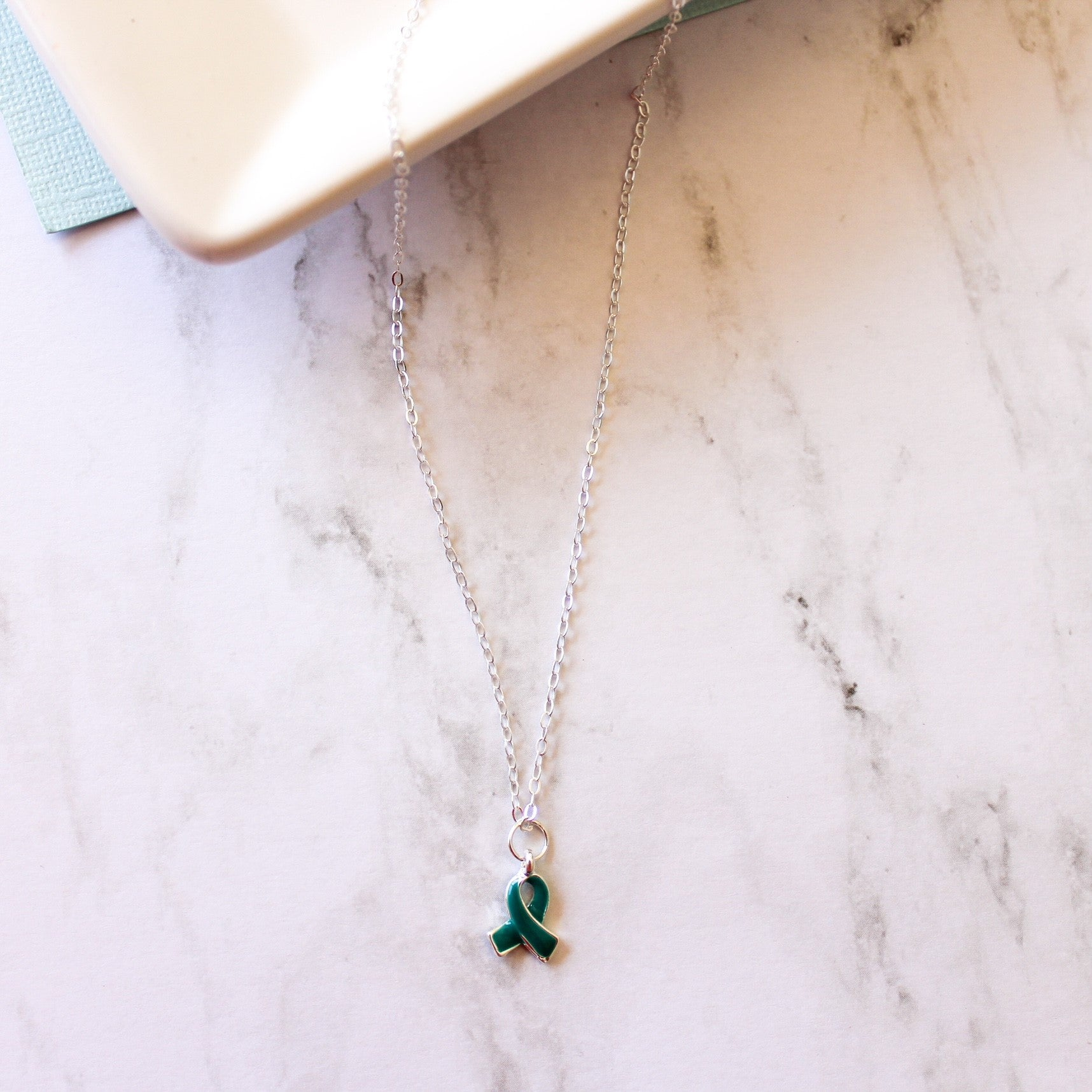 Sterling Silver Collection - The Peyton Necklace With Teal Ribbon Charm - Food Allergy Awareness