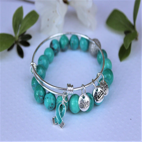 SOLD OUT - The Sophie Stack - Beaded Teal bracelet + Teal ribbon charm bangle