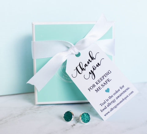 SOLD OUT -Teal Faux Druzy Thank You Teacher Earrings- Ready-To-Gift!