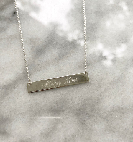 "Sterling Silver Collection - The Arden ""Allergy Mom"" Bar Necklace"