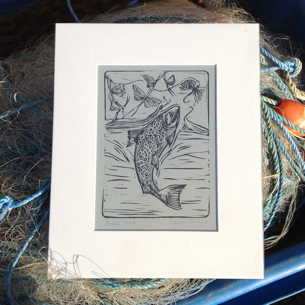 Lino print of brown trout
