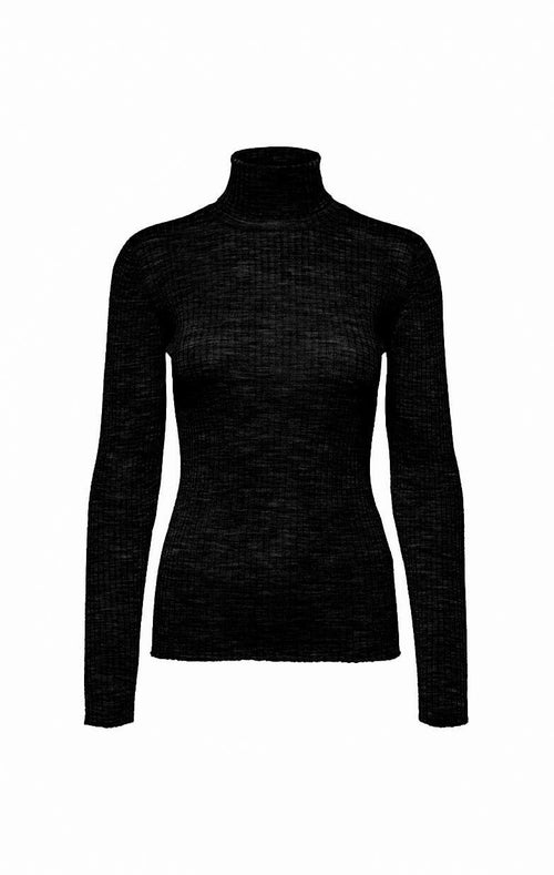 BLACK LONG SLEEVE SHIRT, ZWARTE TOP, BASIC COLTRUI, BLACK TSHIRT, SLFCOSTA LS KNIT RIB ROLLNECK NOOS SELECTED FEMME