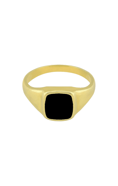 Stone ring, square ring, black ring, dahlia ring, flawed