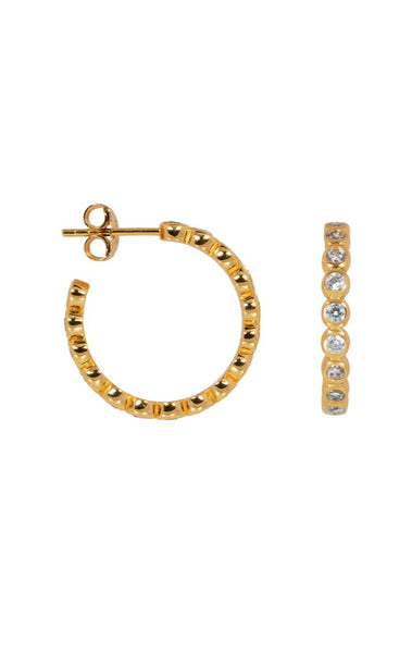 BUBBLE ZIRCONIA HOOPS, GOLD, ELINE ROSINA,