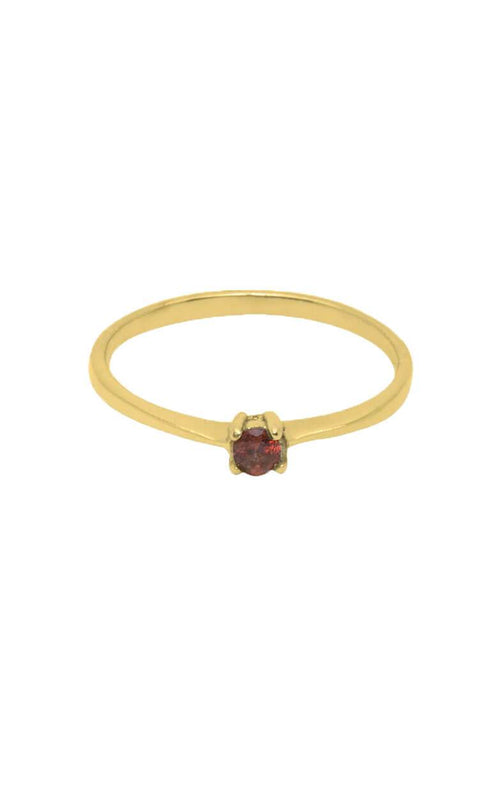 GOUDE RING MET BIRTHSTONE, GARNET STONE, L'AMOUR FEMME RING FLAWED