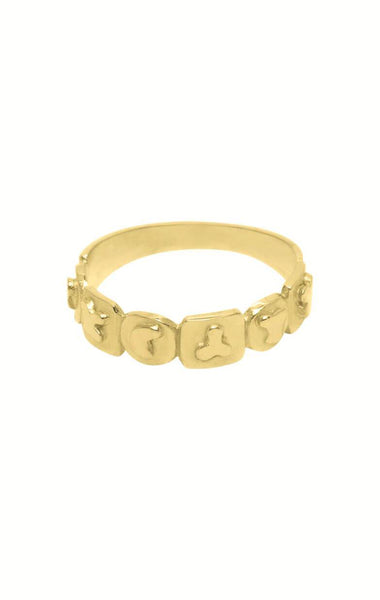 GOUDE RING, RINNGPARTY ABSTRACT ARP RING FLAWED GOLD PLATED