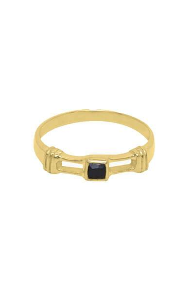 RING, RINGPARTY, ZWARTE STEEN RING VIERKANT, OBSIDIAN RING FLAWED, GOLD GOUD PLATED VERGULD