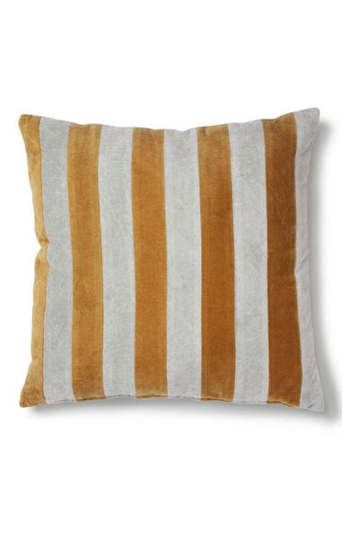 STRIPED CUSHION VELVET GREY/GOLD