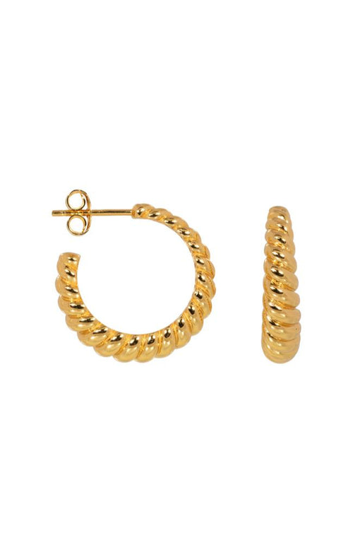 CROSSIANT HOOPS,  EARRING, ELINE ROSINA, GOLD
