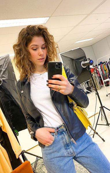 BIKER JACK, LEREN JAS, BLAUWE LEREN JAS, BLUE LEATHER JACKET, CHANTAL BIKER JACKET AIM