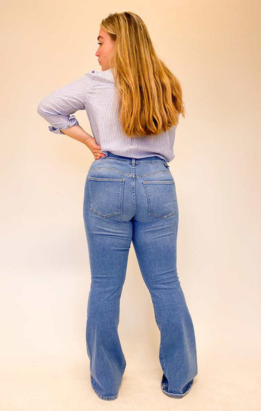 DAMES JEANS. DAMES BROEK, DR DENIM, WESTCOAST, MACY, LIGHTBLUE, HOGE TAILLE, FLARED