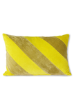 STRIPED CUSHION VELVET YELLOW/GREEN