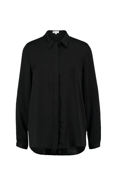 BLACK BLOUSE, BASIC LONG SLEEVE SHIRT, ZWARTE TOP, BLAIR BLOUSE POLYSILK MOSS COPENHAGEN MOSCH