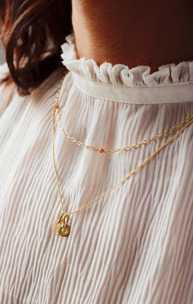PEACH MOONSTONE CHAIN KETTING