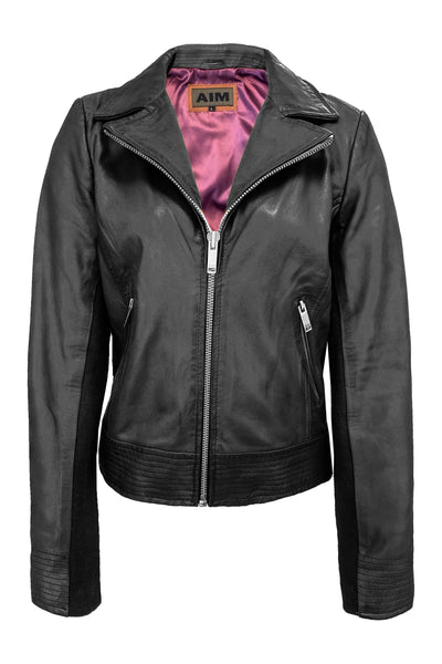 LEREN JAS, LEATHER JACKET, AIM, BLACK ZWARTE LEREN JAS JACK