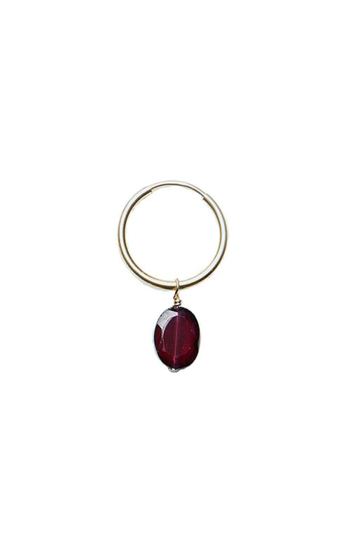 HOOP EARRING WITH CUT OVAL GARNET (ONE PIECE)