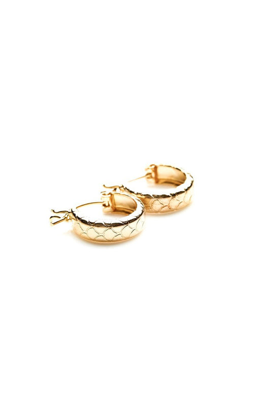 Small hoop, mermaid earring, clasp earring, KOI DÁZUR, MERMAID SKIN HOOP EARRING WITH CLASP, GOLD, SILVER