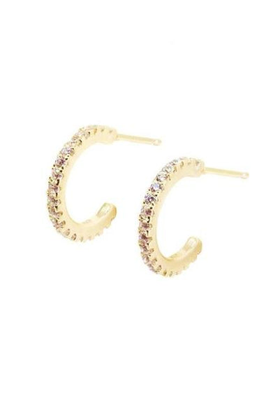 zirconia huggies. zirconia hoops, gold